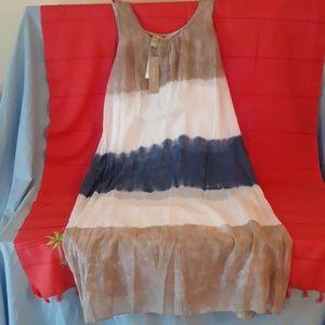 Joan Vass blue/stone maxi dress sz M NWT